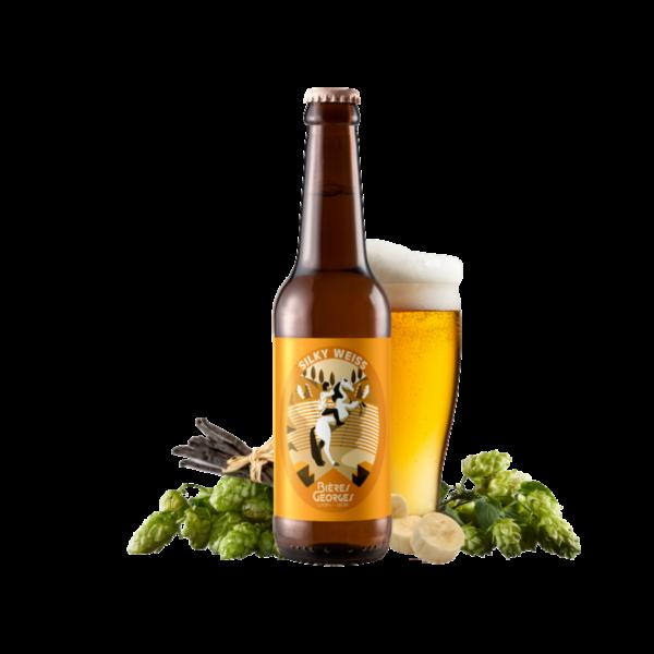 Montrer le produit de notre cave : la bière Silky Weiss de Bières Georges