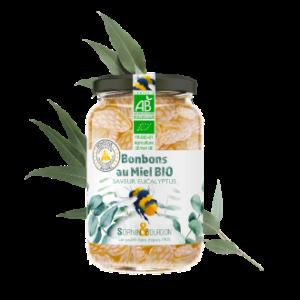 Montrer le produit : bonbons au miel bio saveur eucalyptus.