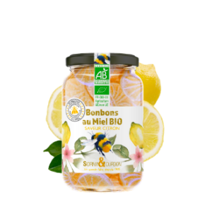 Montrer le produit : bonbons au miel bio saveur citron.