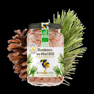 Montrer le produit : bonbons au miel bio saveur sève de pin.