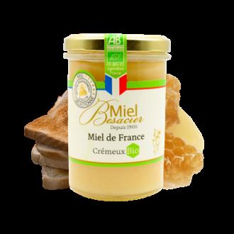 Montrer le produit : le miel de France Besacier bio crémeux.
