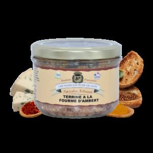 Montrer le produit de notre épicérie salée : la terrine à la fourme d'ambert, produite par les fines saveurs de Lyon