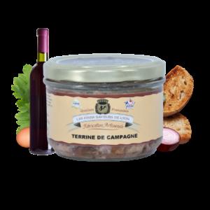 Montrer le produit de notre épicérie salée : la terrine de campagne, produite par les fines saveurs de Lyon