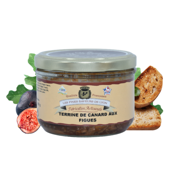 Montrer le produit de notre épicérie salée : la terrine de canard aux figues, produite par les fines saveurs de Lyon