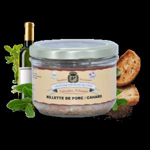 Montrer le produit de notre épicérie salée : la terrine rillette de porc et canard, produite par les fines saveurs de Lyon