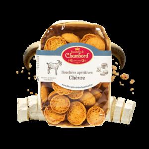 Montrer le produit de notre épicérie salée : les biscuits salés et bouchées apéritives au fromage de chèvre, produits par la biscuiterie de Chambord