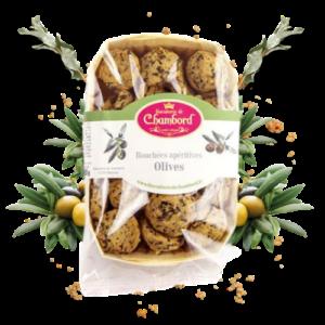 Montrer le produit de notre épicérie salée : les biscuits salés et bouchées apéritives aux olives, produits par la biscuiterie de Chambord