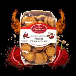 Montrer le produit de notre épicérie salée : les biscuits salés et bouchées apéritives au piment d'Espelette AOP, produits par la biscuiterie de Chambord
